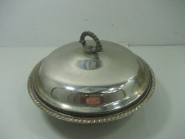 Vintage Round Covered Silver Plated Ornate Serving Bowl with Pyrex 1.5Qt Dish  - $23.33