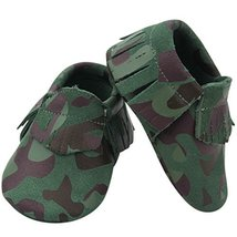 Unique Baby Camouflage Print Genuine Suede Leather Patriotic Baby Moccas... - $11.99