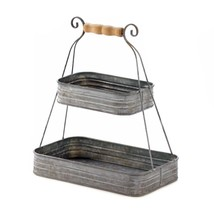 Tier Basket, Rustic Tin Storage Organizer Hanging Bedroom 2-tier Basket - $33.29