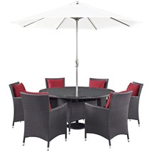 Convene 8 Piece Outdoor Patio Dining Set Espresso Red EEI-2194-EXP-RED-SET - $1,921.00