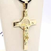 18K YELLOW GOLD CROSS, JESUS & SAINT BENEDICT MEDAL, BIG 2.1 INCHES, ITALY MADE image 2