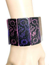 "2"" Wide Stretchable Black, Lavender Purple Flowers Bangle Bracelet Casual Urban - $16.15"