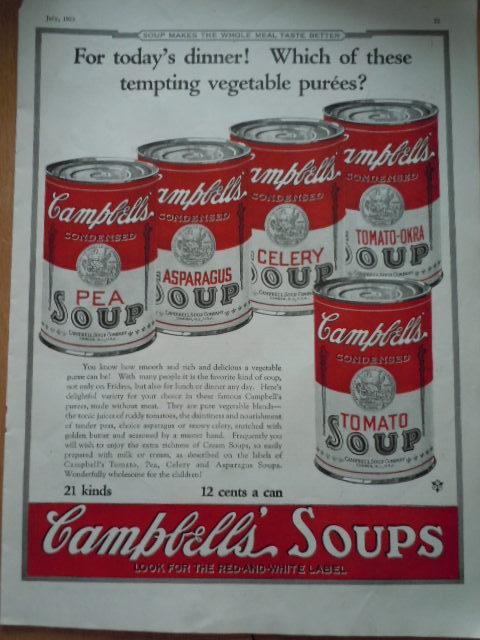 Vintage Campbell's Soup Vegetable Puree's Print Magazine Advertisement 1923