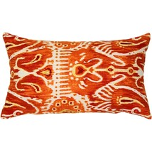 Pillow Decor - Orange Java Ikat Throw Pillow 13x24 - £22.86 GBP