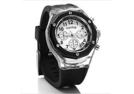 Rumba Time Mens Mercer Lights Out 45MM Clear Black Acrylic White Dial Watch NIB