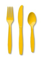 24 Piece Yellow Premium Plastic Forks, Spoons, Knives Cutlery  - 8 ea - $5.51