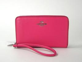 Coach Smooth Leather Zip Wallet Case Dahlia Pin... - $63.36