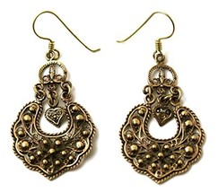 Bronze Bohemian Hippie Boho Vine Curve Filigree Drop Dangle Earrings Vin... - $24.09