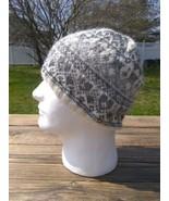 Fair Isle Nordic Flower Beanie Hat Alpaca Wool White Gray Hand Knit Wome... - $48.95