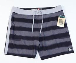 Quiksilver Diamond Dobby Cypher Black & Gray 4-Way Stretch Boardshorts Mens NWT - $52.49