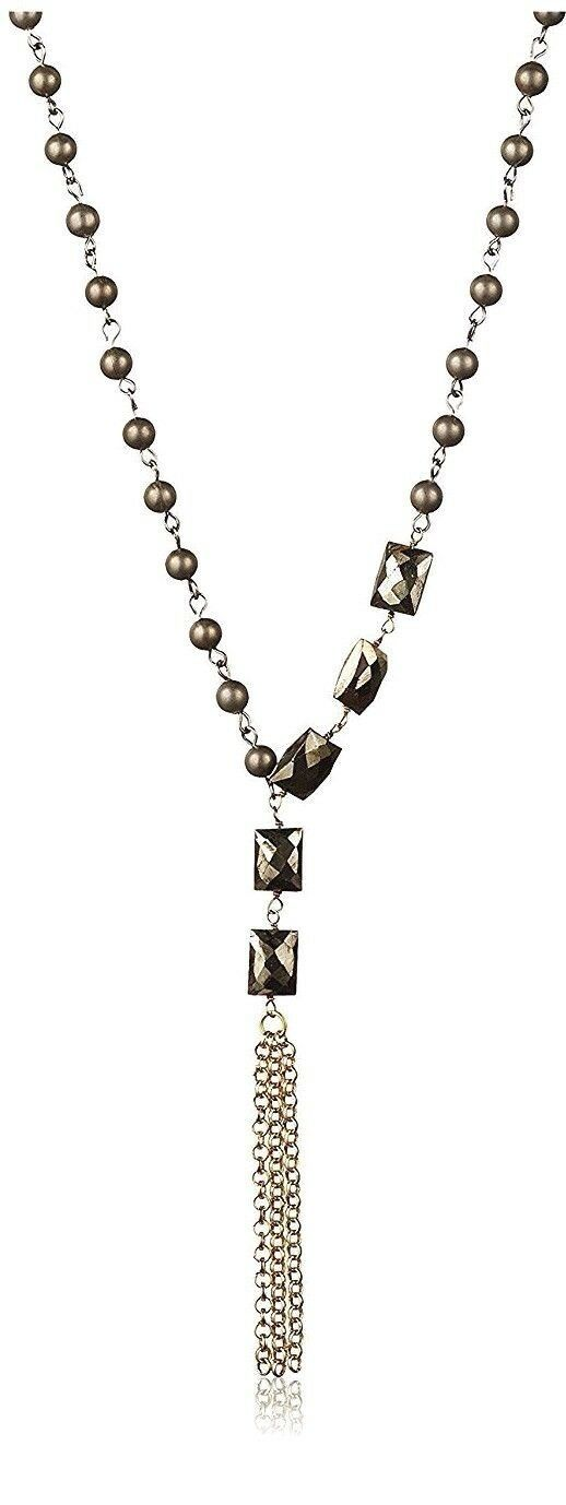 New USA Made Gemelli Beaded Pyrite Glam Tassel Necklace NWT
