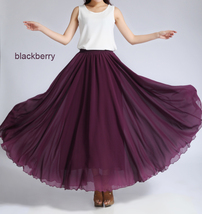 Pink MAXI CHIFFON SKIRT Women High Waisted Chiffon Maxi Skirt Plus Size image 12