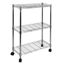 Silver Steel 3 Adjustable Shelves Utility Cart ... - $52.46
