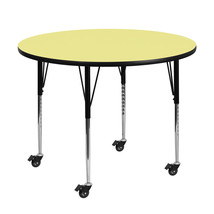 "Offex 48"" Round Yellow Laminated Activity Table with Height Adjustable Legs - $337.56"