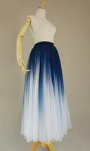 Women Blue White Dye Tulle Skirt A-line Tie Dye Long Tulle Skirt Evening Skirts  image 9