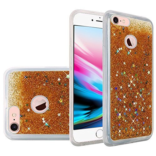 Hybrid Quicksand with Glitter Fused Flexible TPU Case - Gold for iPhone 8