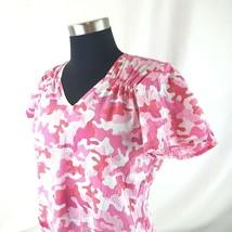 Peaches Uniforms Scrub Top Shirt Pink Camouflage Theme Size XS - $12.60