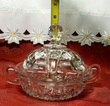 Vintage Clear Pressed Glass Clear Covered Candy Dish With Handles image 7