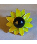 Vintage 1960s Black Eyed Susan RING Yellow & Brown Painted Metal Flower ... - $10.00