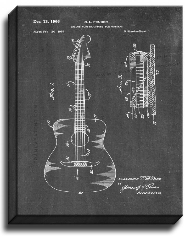 Primary image for Bridge Constructions for Guitars Patent Print Chalkboard on Canvas