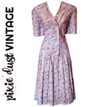 Vintage Floral Dress Midi 70s Mididress Pastel 1970s Flowers Size Medium - $24.14
