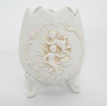 "Vintage Lefton Footed Egg Shaped Vase Spooner w Embossed Cherubs 4"" Tall... - $19.79"