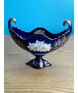 Qin Ye Creation Dish Footed Bowl Dark Blue Side Scroll Painted w/ Flowers - $29.65
