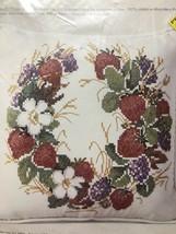 Vtg 78 Columbia Minerva Cross Stitch Pillow Kit 6779 Strawberries Wreath... - $32.54