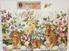 "SET OF 4 PLACEMATS W/CORK BACK (12""x16"") EASTER,BUNNIES,BUTTERFLIES & FL... - $23.75"