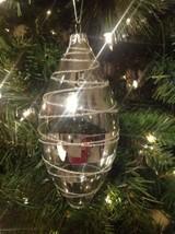 Christmas Ornament Silver Blown Glass Glittery Stripes Melrose - $13.81