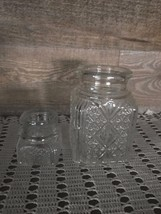 Pressed Glass Jars with Cross Hatch Pattern Set of Two Vintage - $34.48