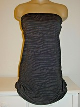 Lane Bryant black tunic top gold dots zebra print runched remove straps-26/28 4X - $18.17