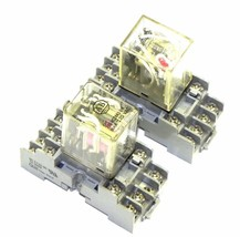 LOT OF 2 EAGLE SIGNAL 60 SY4S-05 RELAY SOCKETS WITH RELAYS MY4N, 700-HC24A1-1-4