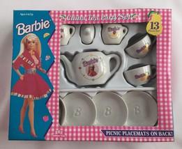Mattel Barbie Child's Tea Set Vintage 1994 Ceramic In Box 13 Pieces Doll - $8.52
