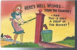1950 Well Wishes from the Country Postcard Linen Colourpicture - $3.34