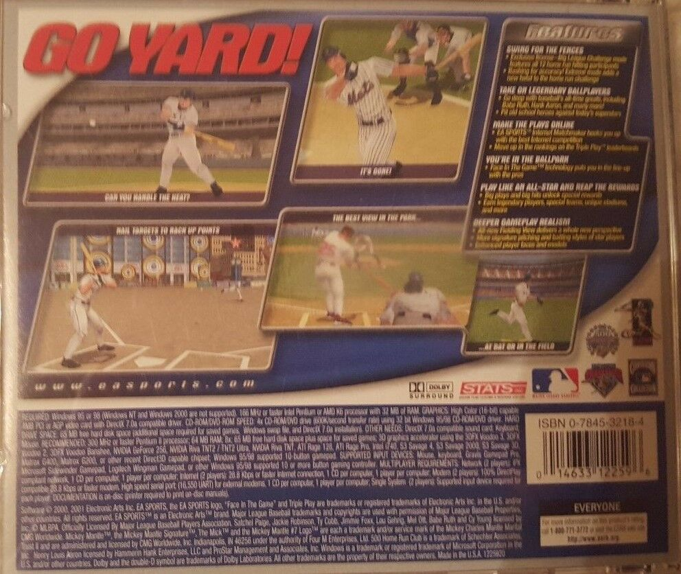 EA Sports Triple Play 2001 PC Video Game