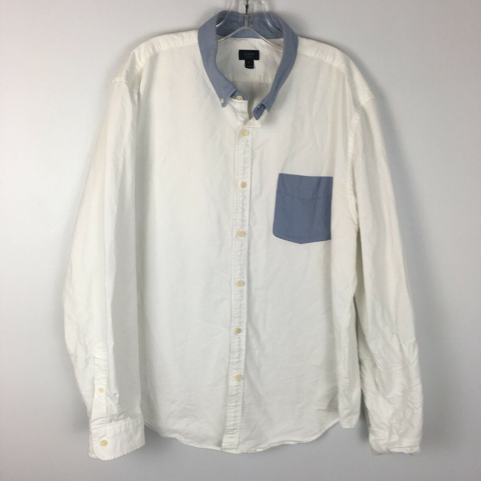 "J.Crew Men's White ""Oxford"" Button Front Shirt Size XL Extra Large"
