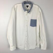 "J.Crew Men's White ""Oxford"" Button Front Shirt Size XL Extra Large - $19.79"