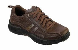 Men's Skechers Relaxed Fit Expended Manden Bicycle Toe Shoe Dark Brown - $111.05