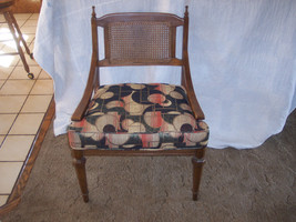 Pecan Caned Sidechair / Chair with abstract print seat  (SC83) - $179.10