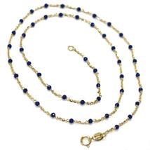 Collier or Jaune 18K 750, Cubic Zirconia Bleu, Facettes, Chaîne Rolo Ovale image 1