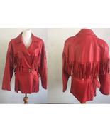 QASTAN WOMEN'S NEW POPULAR SUPERB RED WESTERN FRINGES LEATHER JACKET WWJ64 - $175.42+