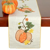 Grelucgo Halloween and Thanksgiving Holiday Table Runners, Fall Autumn Harvest D image 1
