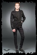 Men's Black Goth Punk Military Blazer Jacket Patch Stud Army Coat Sizes ... - $128.00