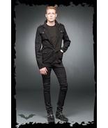 Men's Black Goth Punk Military Blazer Jacket Patch Stud Army Coat Sizes ... - $128.00