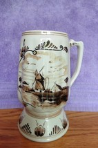 Vintage DCLOR Holland Hand painted Mug Beer Stein wht& brown Wind Mill P... - $46.33