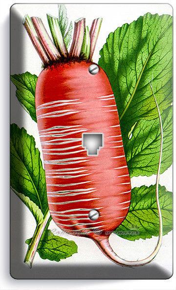 RED RADIS GRAVURE PHONE TELEPHONE WALL PLATE COVER VEGETARIAN KITCHEN HOME DECOR