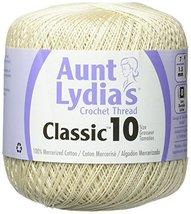 Coats Crochet Aunt Lydia's Crochet, Cotton Classic Size 10, Ecru - $6.09