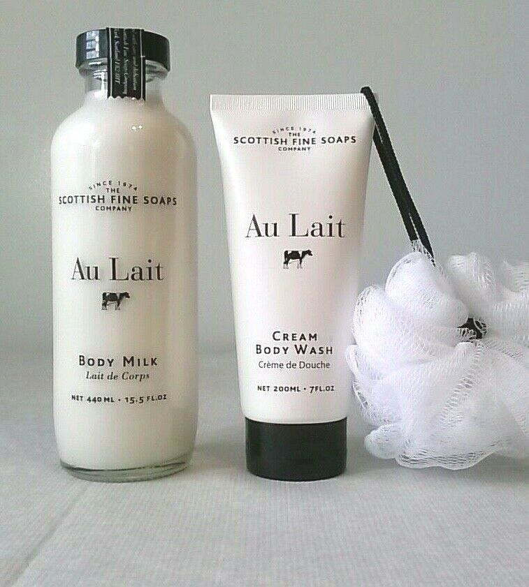 Primary image for Scottish Fine Soaps AU LAIT Body Butter & 15.5oz Body Milk LARGE both are SEALED