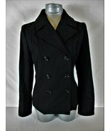 GUESS womens Small L/S black WOOL BLEND button down FULLY LINED jacket (X)P - $74.88